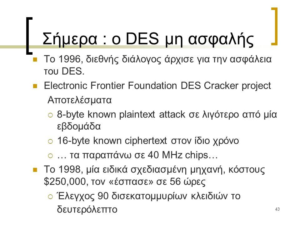 43 Σήμερα : ο DES μη ασφαλής Το 1996, διεθνής διάλογος άρχισε για την ασφάλεια του DES. Electronic Frontier Foundation DES Cracker project Αποτελέσματ