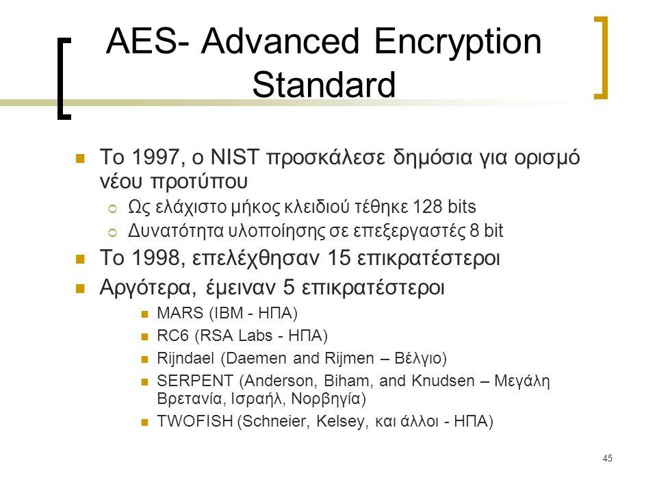 45 AES- Advanced Encryption Standard Το 1997, ο NIST προσκάλεσε δημόσια για ορισμό νέου προτύπου  Ως ελάχιστο μήκος κλειδιού τέθηκε 128 bits  Δυνατότητα υλοποίησης σε επεξεργαστές 8 bit To 1998, επελέχθησαν 15 επικρατέστεροι Αργότερα, έμειναν 5 επικρατέστεροι MARS (IBM - ΗΠΑ) RC6 (RSA Labs - ΗΠΑ) Rijndael (Daemen and Rijmen – Βέλγιο) SERPENT (Anderson, Biham, and Knudsen – Μεγάλη Βρετανία, Ισραήλ, Νορβηγία) TWOFISH (Schneier, Kelsey, και άλλοι - ΗΠΑ)