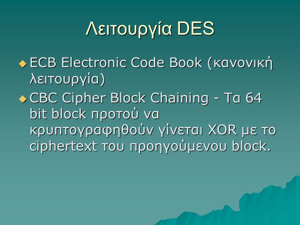 Λειτουργία DES  ECB Electronic Code Book (κανονική λειτουργία)  CBC Cipher Block Chaining - Τα 64 bit block προτού να κρυπτογραφηθούν γίνεται XOR με το ciphertext του προηγούμενου block.