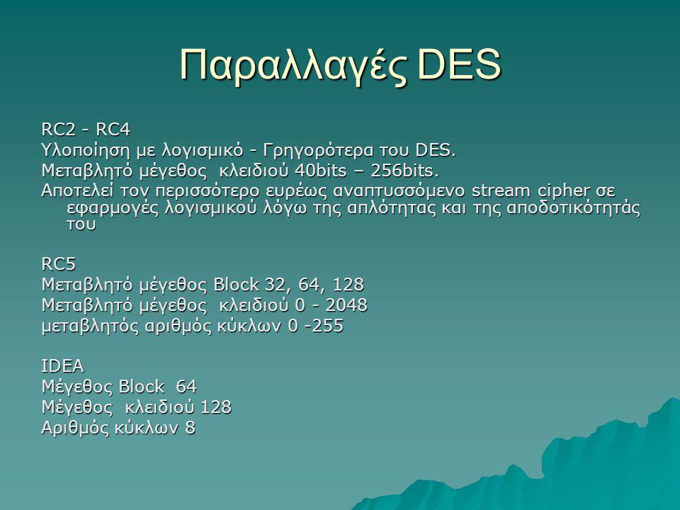 Παραλλαγές DES RC2 - RC4 Υλοποίηση με λογισμικό - Γρηγορότερα του DES. Μεταβλητό μέγεθος κλειδιού 40bits – 256bits. Αποτελεί τον περισσότερο ευρέως αν
