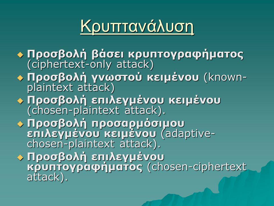 Κρυπτανάλυση  Προσβολή βάσει κρυπτογραφήματος (ciphertext-only attack)  Προσβολή γνωστού κειμένου (known- plaintext attack)  Προσβολή επιλεγμένου κειμένου (chosen-plaintext attack).