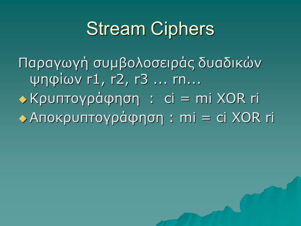 Stream Ciphers Παραγωγή συμβολοσειράς δυαδικών ψηφίων r1, r2, r3... rn...  Κρυπτογράφηση : ci = mi XOR ri  Αποκρυπτογράφηση : mi = ci XOR ri