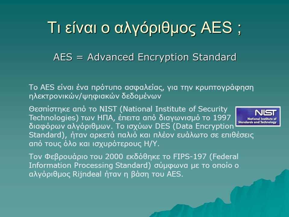 Τι είναι ο αλγόριθμος AES ; AES = Advanced Encryption Standard Το AES είναι ένα πρότυπο ασφαλείας, για την κρυπτογράφηση ηλεκτρονικών/ψηφιακών δεδομένων Θεσπίστηκε από το NIST (National Institute of Security Technologies) των ΗΠΑ, έπειτα από διαγωνισμό το 1997 διαφόρων αλγόριθμων.
