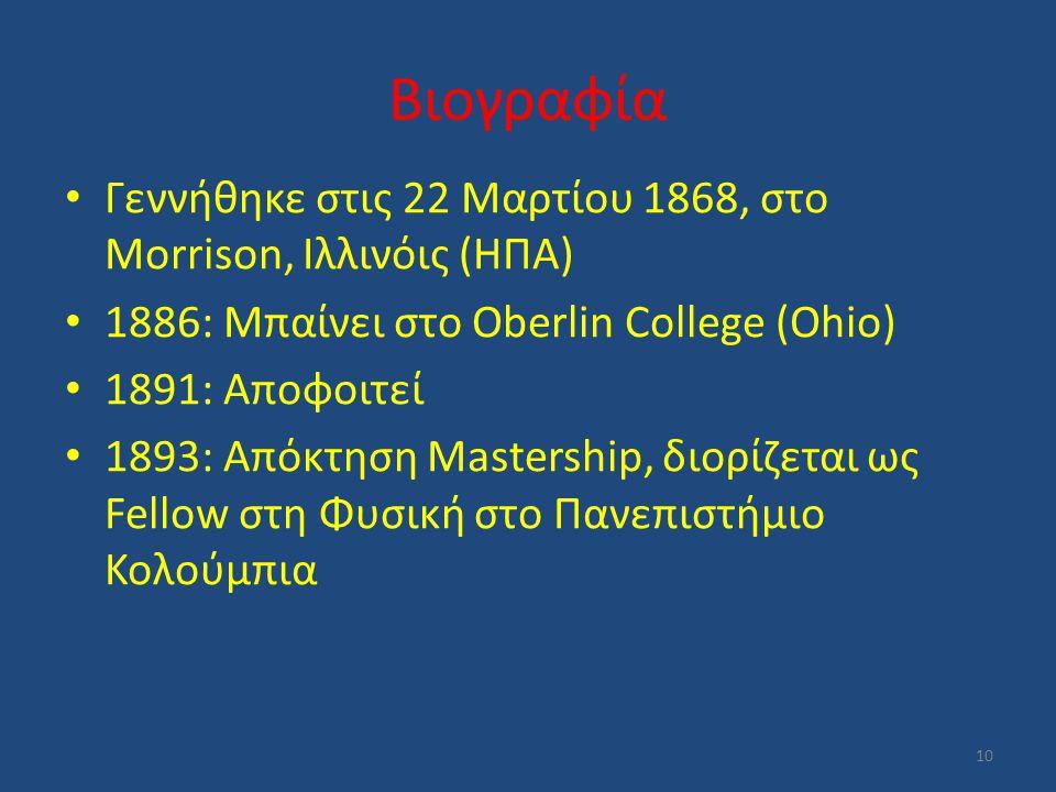 Βιογραφία Γεννήθηκε στις 22 Μαρτίου 1868, στο Morrison, Ιλλινόις (ΗΠΑ) 1886: Μπαίνει στο Oberlin College (Ohio) 1891: Αποφοιτεί 1893: Απόκτηση Masters