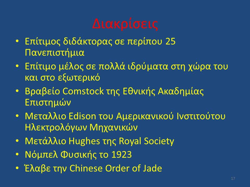 Διακρίσεις Επίτιμος διδάκτορας σε περίπου 25 Πανεπιστήμια Επίτιμο μέλος σε πολλά ιδρύματα στη χώρα του και στο εξωτερικό Βραβείο Comstock της Εθνικής