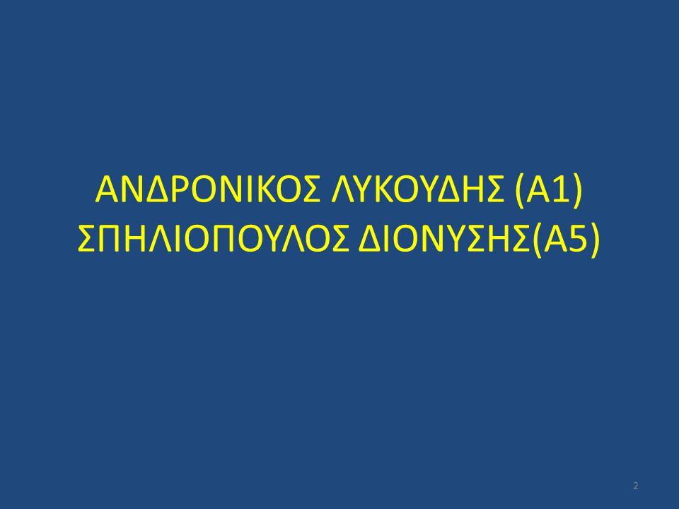 ΑΝΔΡΟΝΙΚΟΣ ΛΥΚΟΥΔΗΣ (Α1) ΣΠΗΛΙΟΠΟΥΛΟΣ ΔΙΟΝΥΣΗΣ(Α5) 2