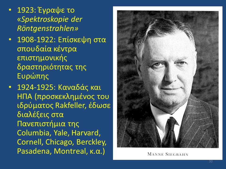 1923: Έγραψε το «Spektroskopie der Röntgenstrahlen» 1908-1922: Επίσκεψη στα σπουδαία κέντρα επιστημονικής δραστηριότητας της Ευρώπης 1924-1925: Καναδά