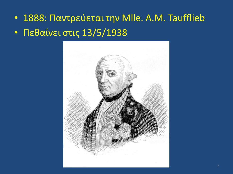 1888: Παντρεύεται την Mlle. A.M. Taufflieb Πεθαίνει στις 13/5/1938 7