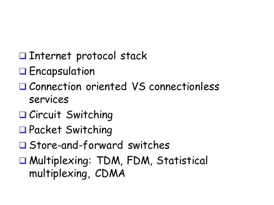  Internet protocol stack  Encapsulation  Connection oriented VS connectionless services  Circuit Switching  Packet Switching  Store-and-forward