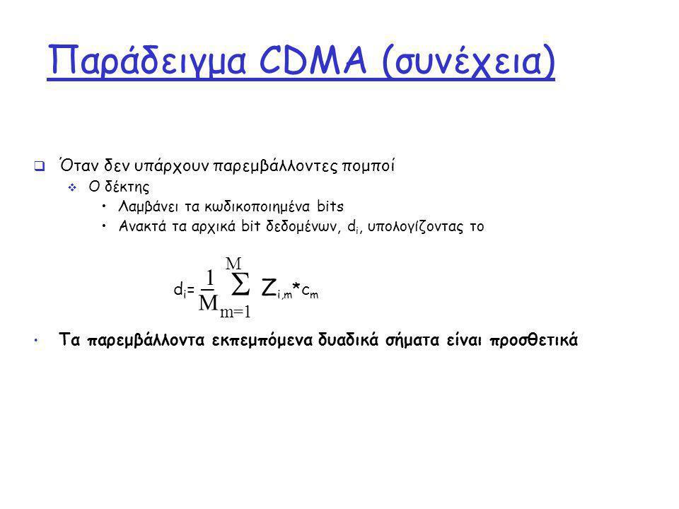 Παράδειγμα CDMA (συνέχεια)  Όταν δεν υπάρχουν παρεμβάλλοντες πομποί  Ο δέκτης Λαμβάνει τα κωδικοποιημένα bits Ανακτά τα αρχικά bit δεδομένων, d i, υ