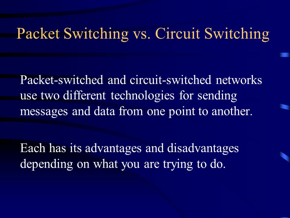 Packet Switching vs. Circuit Switching Packet-switched and circuit-switched networks use two different technologies for sending messages and data from