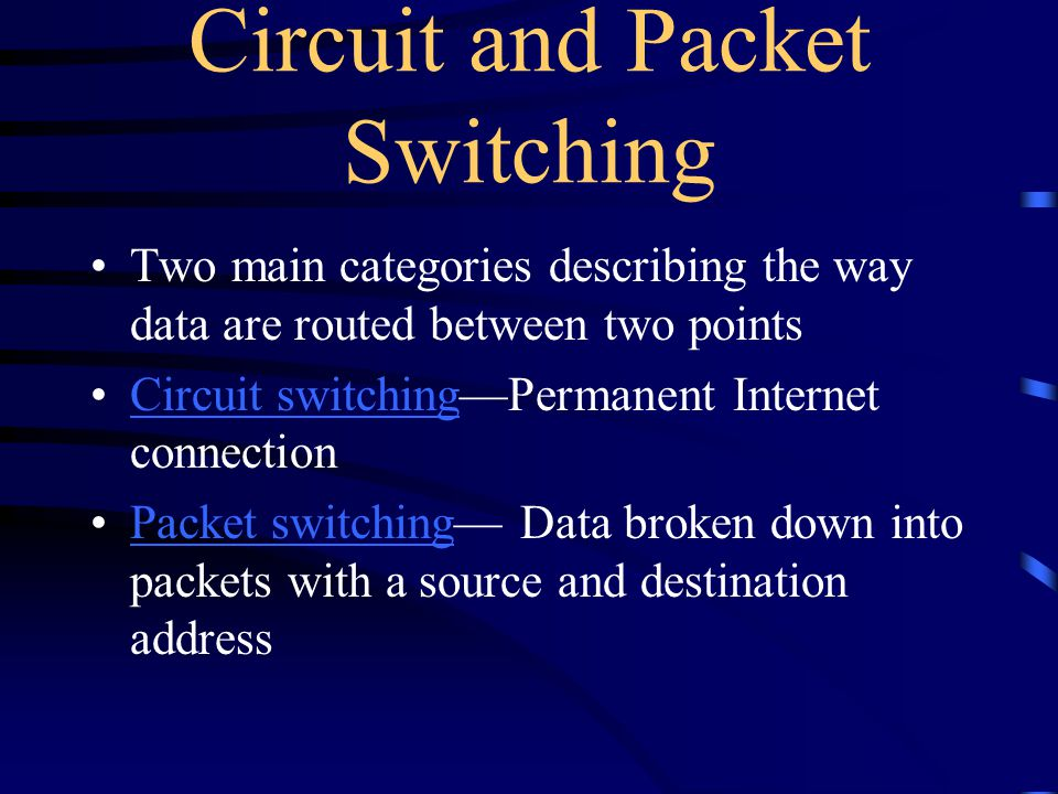 Packet Switching In packet-based networks, the message gets broken into small data packets.