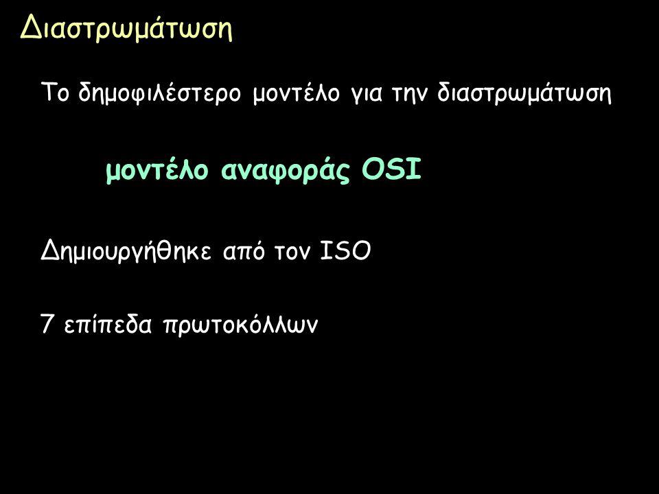Page 10 Διαστρωμάτωση Το δημοφιλέστερο μοντέλο για την διαστρωμάτωση μοντέλο αναφοράς OSI Δημιουργήθηκε από τον ISO 7 επίπεδα πρωτοκόλλων