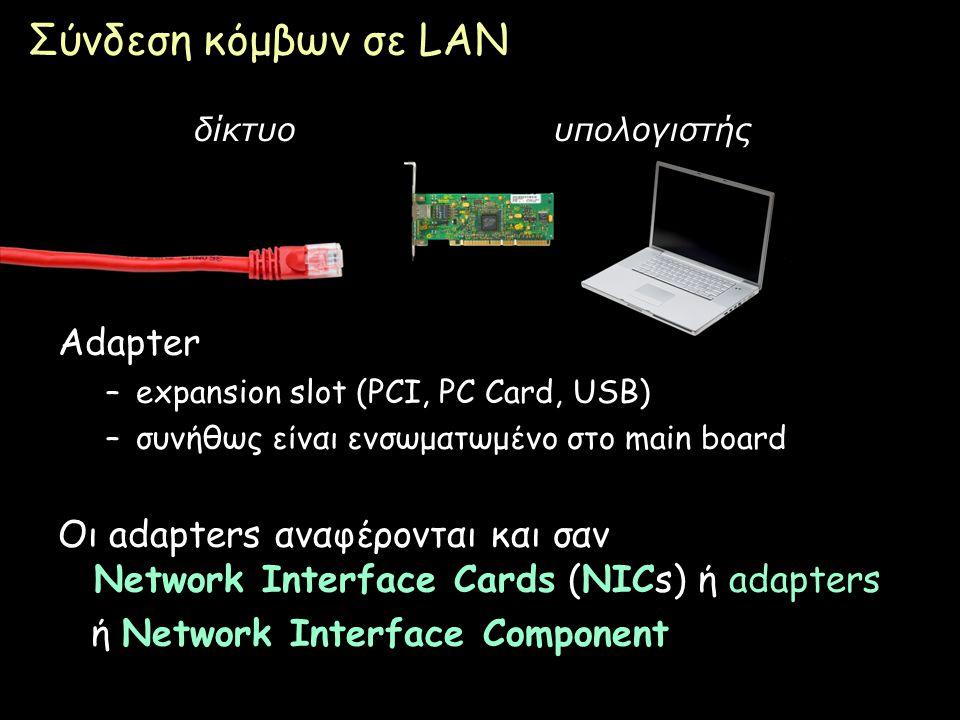 Page 21 Σύνδεση κόμβων σε LAN δίκτυουπολογιστής Adapter –expansion slot (PCI, PC Card, USB) –συνήθως είναι ενσωματωμένο στο main board Οι adapters ανα
