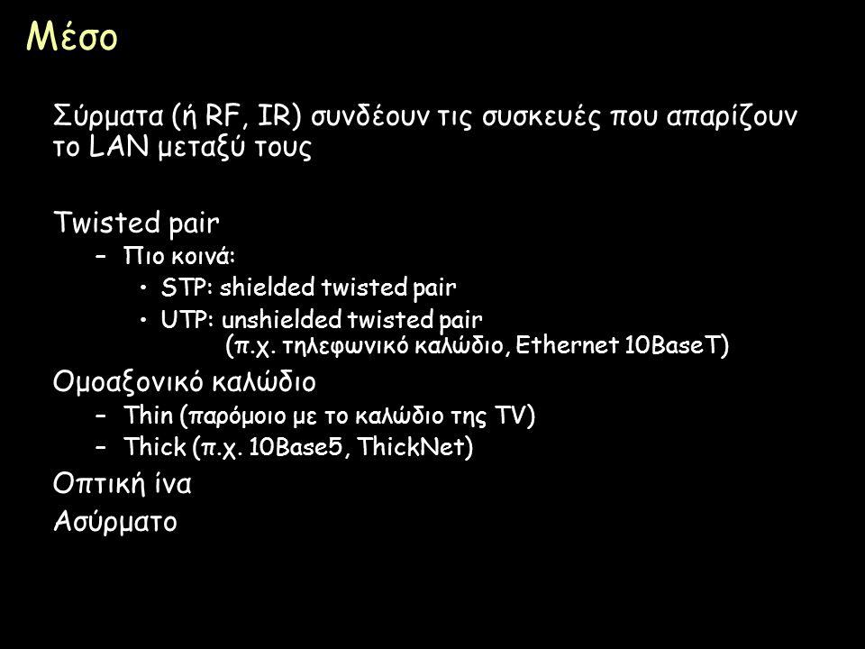 Page 22 Μέσο Σύρματα (ή RF, IR) συνδέουν τις συσκευές που απαρίζουν το LAN μεταξύ τους Twisted pair –Πιο κοινά: STP: shielded twisted pair UTP: unshie