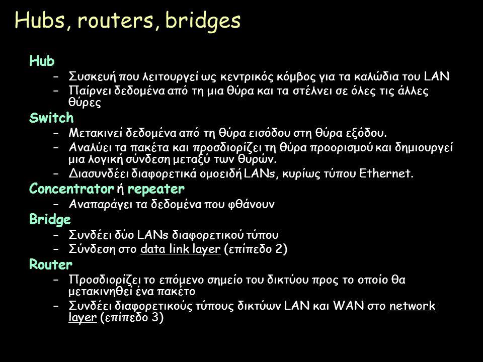 Page 23 Hubs, routers, bridges Hub –Συσκευή που λειτουργεί ως κεντρικός κόμβος για τα καλώδια του LAN –Παίρνει δεδομένα από τη μια θύρα και τα στέλνει