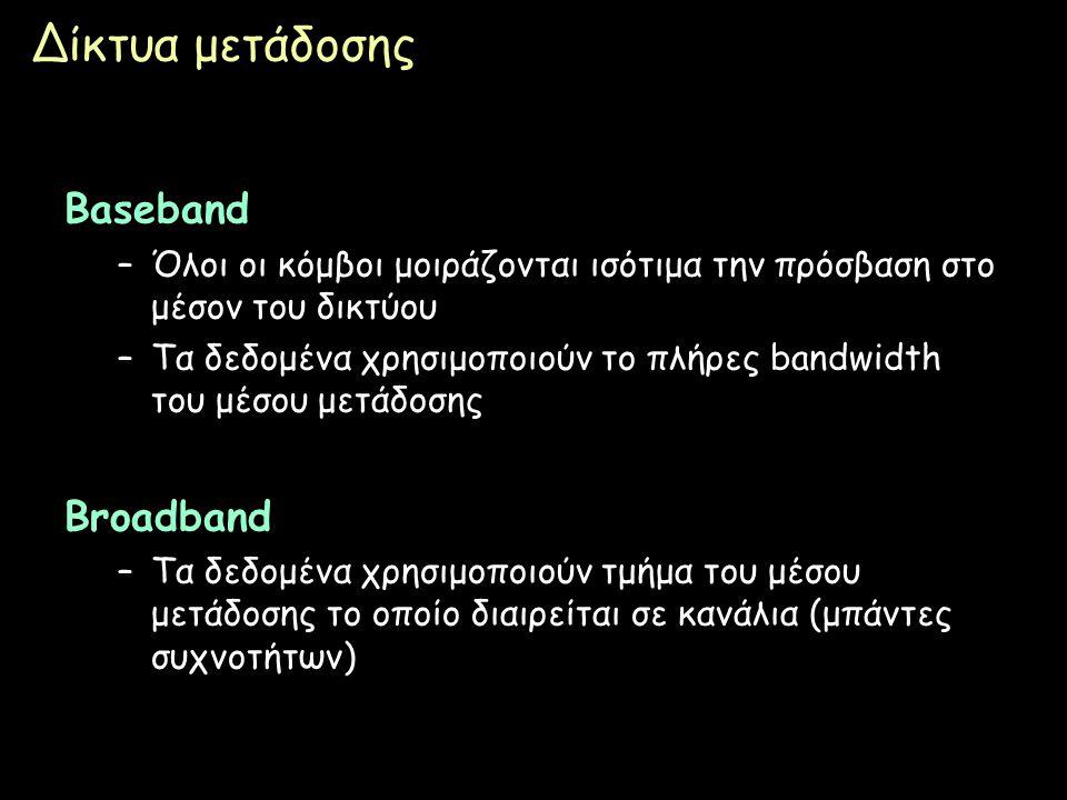 Page 30 Δίκτυα μετάδοσης Baseband –Όλοι οι κόμβοι μοιράζονται ισότιμα την πρόσβαση στο μέσον του δικτύου –Τα δεδομένα χρησιμοποιούν το πλήρες bandwidt