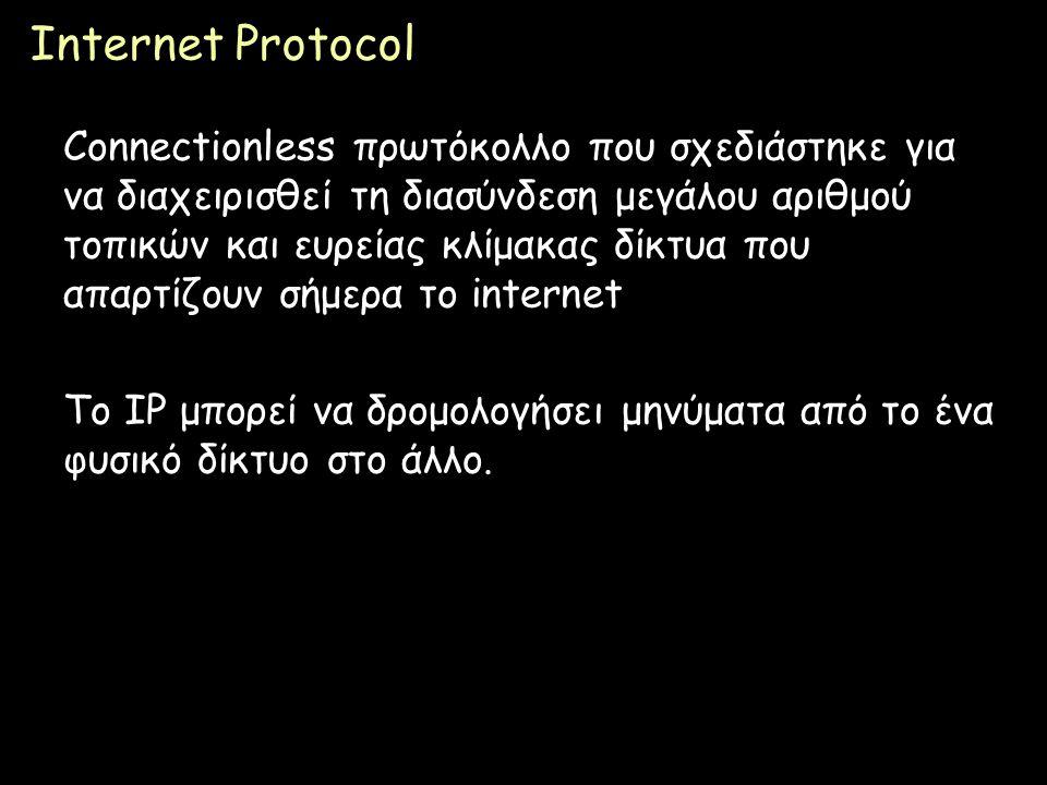 Page 45 Internet Protocol Connectionless πρωτόκολλο που σχεδιάστηκε για να διαχειρισθεί τη διασύνδεση μεγάλου αριθμού τοπικών και ευρείας κλίμακας δίκ