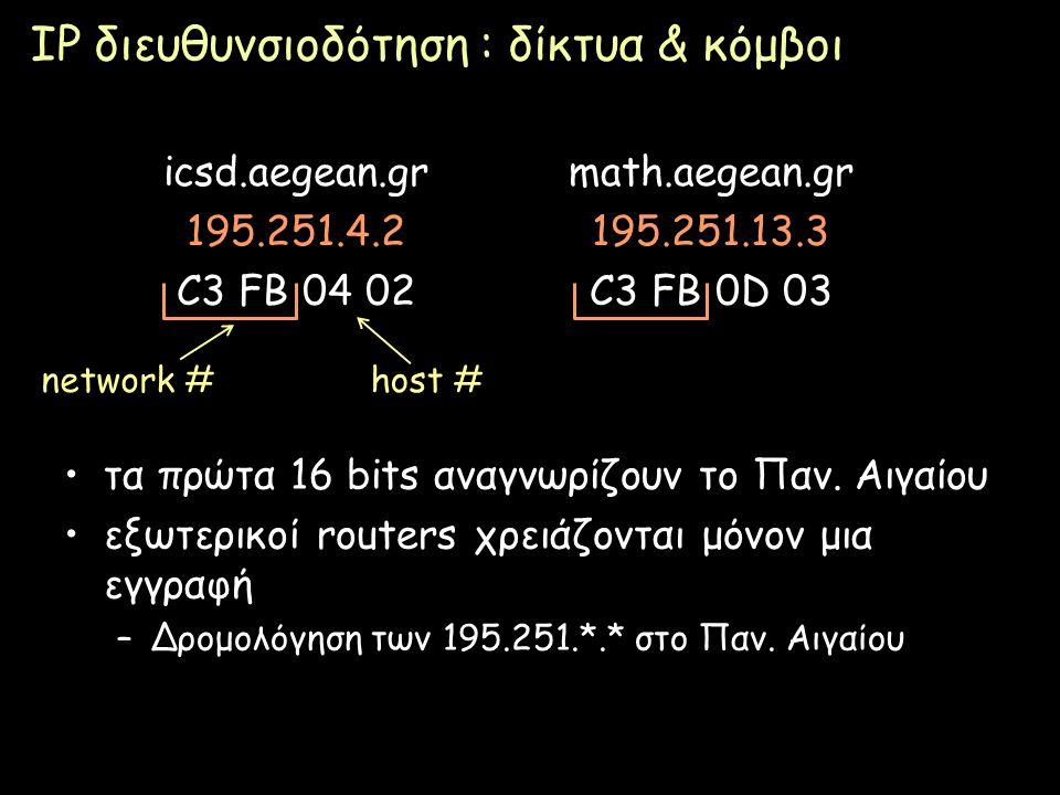 Page 48 IP διευθυνσιοδότηση : δίκτυα & κόμβοι τα πρώτα 16 bits αναγνωρίζουν το Παν. Αιγαίου εξωτερικοί routers χρειάζονται μόνον μια εγγραφή –Δρομολόγ