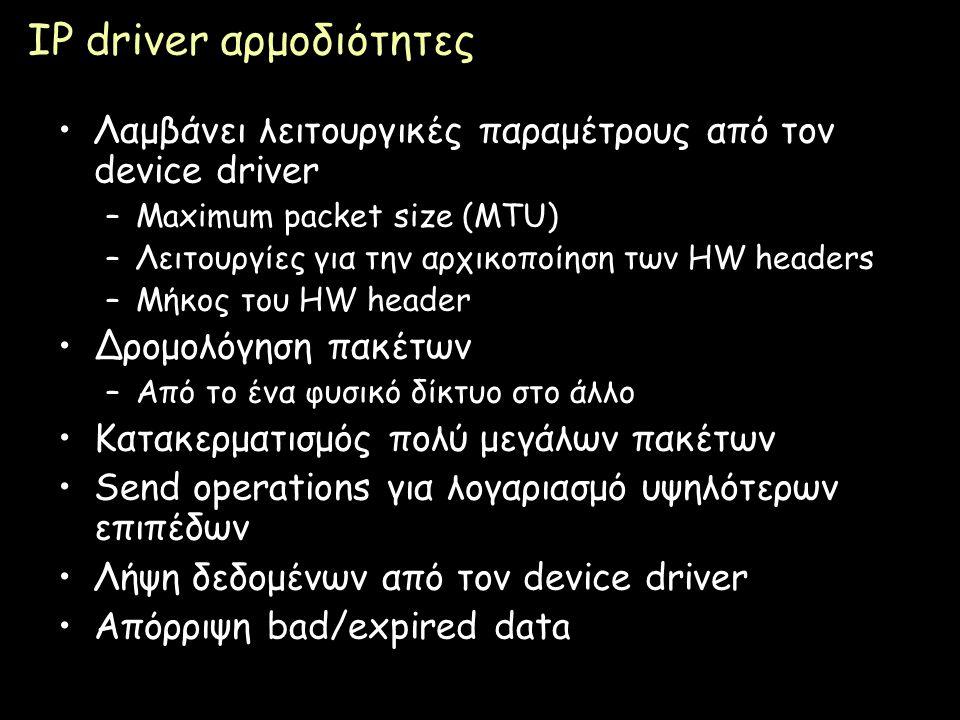 Page 61 IP driver αρμοδιότητες Λαμβάνει λειτουργικές παραμέτρους από τον device driver –Maximum packet size (MTU) –Λειτουργίες για την αρχικοποίηση τω