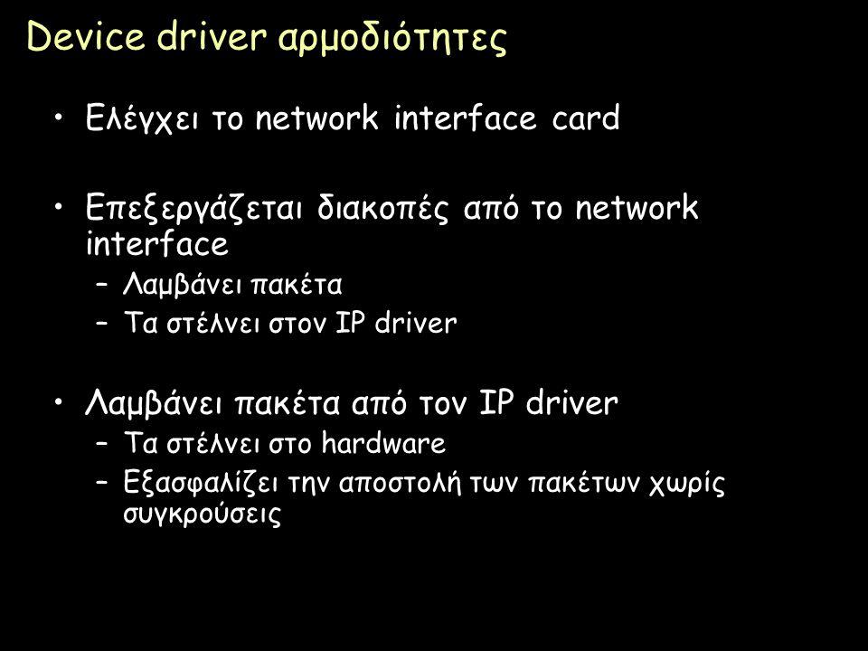 Page 62 Device driver αρμοδιότητες Ελέγχει το network interface card Επεξεργάζεται διακοπές από το network interface –Λαμβάνει πακέτα –Τα στέλνει στον