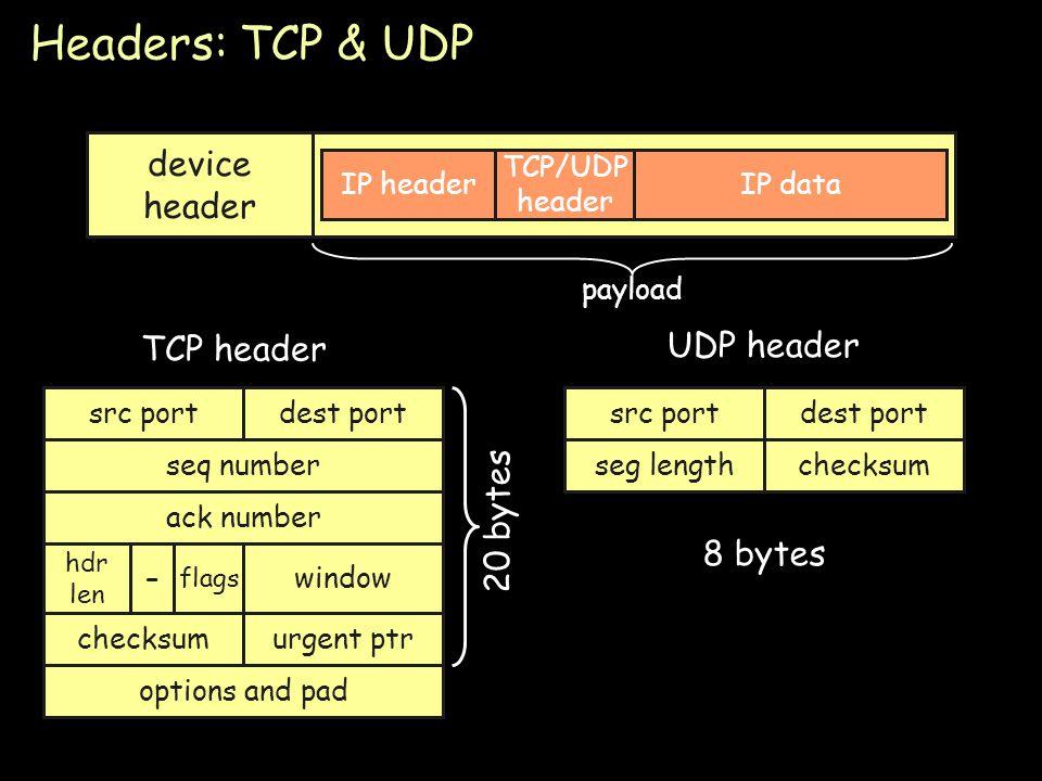 Page 78 Headers: TCP & UDP device header IP headerIP data TCP/UDP header src portdest port seq number ack number hdr len flags checksumurgent ptr opti