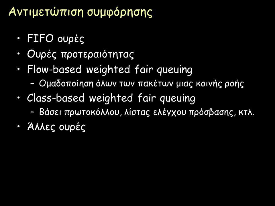 Page 82 Αντιμετώπιση συμφόρησης FIFO ουρές Ουρές προτεραιότητας Flow-based weighted fair queuing –Ομαδοποίηση όλων των πακέτων μιας κοινής ροής Class-