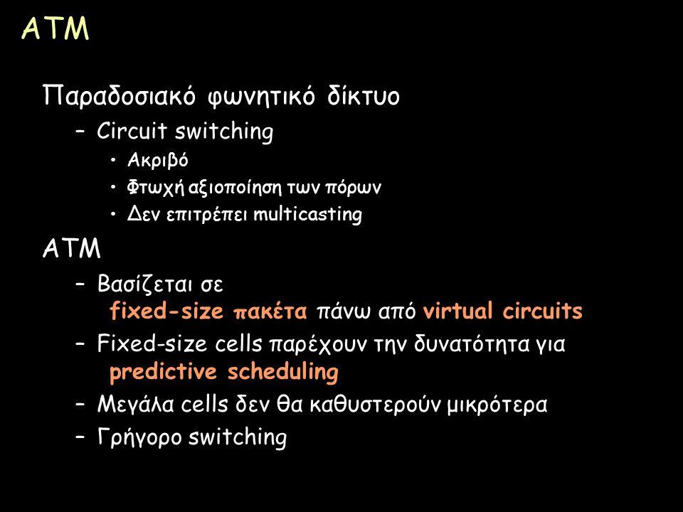 Page 90 ATM Παραδοσιακό φωνητικό δίκτυο –Circuit switching Ακριβό Φτωχή αξιοποίηση των πόρων Δεν επιτρέπει multicasting ATM –Βασίζεται σε fixed-size π
