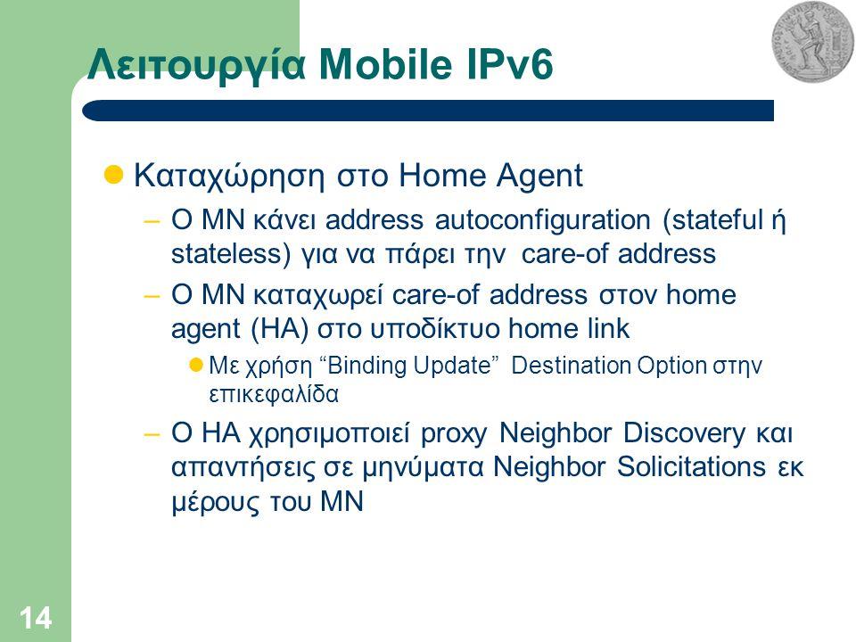 14 Λειτουργία Mobile IPv6 Καταχώρηση στο Home Agent –Ο MN κάνει address autoconfiguration (stateful ή stateless) για να πάρει την care-of address –Ο MN καταχωρεί care-of address στον home agent (ΗΑ) στο υποδίκτυο home link Με χρήση Binding Update Destination Option στην επικεφαλίδα –Ο HA χρησιμοποιεί proxy Neighbor Discovery και απαντήσεις σε μηνύματα Neighbor Solicitations εκ μέρους του MN