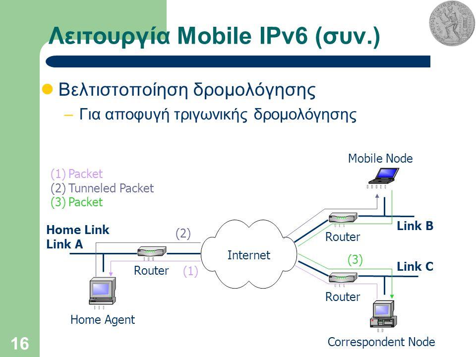 16 Λειτουργία Mobile IPv6 (συν.) Βελτιστοποίηση δρομολόγησης –Για αποφυγή τριγωνικής δρομολόγησης Internet Home Agent Correspondent Node Mobile Node Router Home Link Link A Link B Link C (1)Packet (2)Tunneled Packet (3)Packet (2) (1) (3)