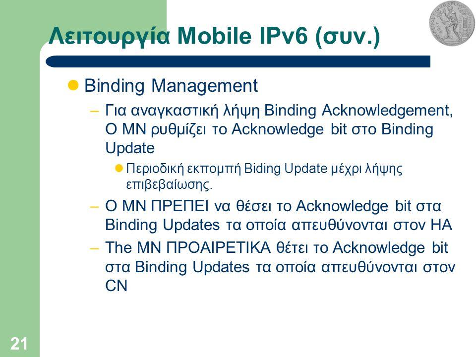 21 Λειτουργία Mobile IPv6 (συν.) Binding Management –Για αναγκαστική λήψη Binding Acknowledgement, Ο MN ρυθμίζει το Acknowledge bit στο Binding Update Περιοδική εκπομπή Biding Update μέχρι λήψης επιβεβαίωσης.