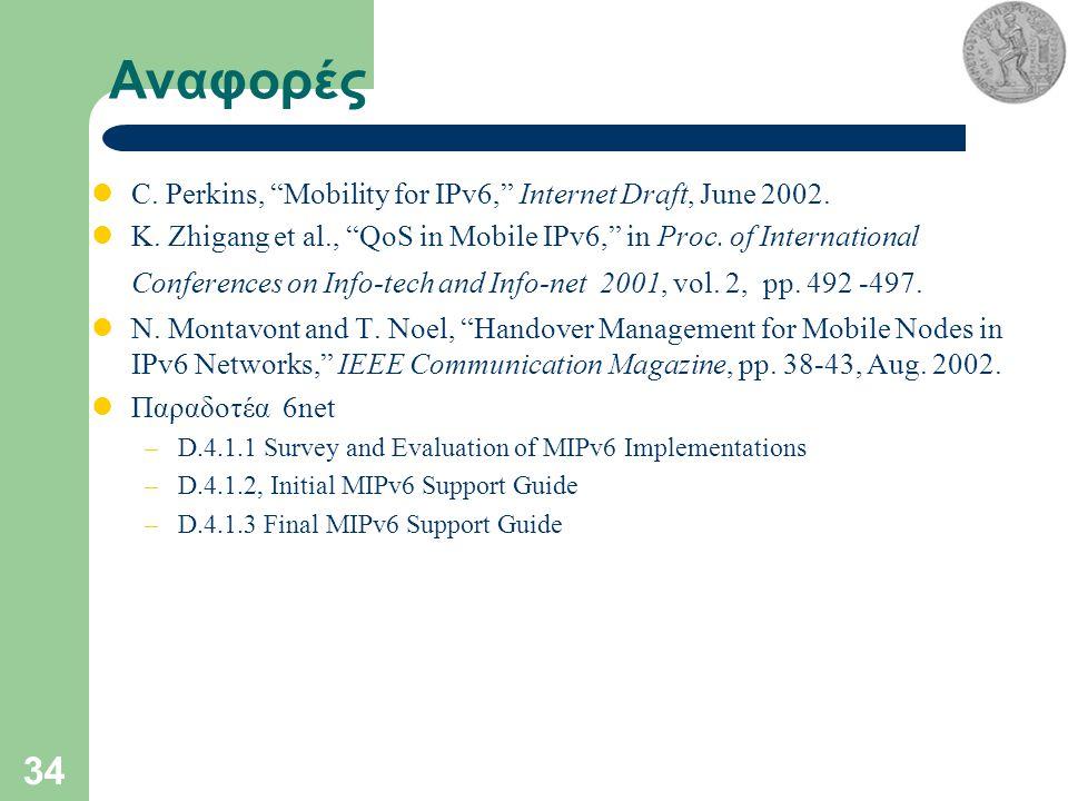 34 Αναφορές C. Perkins, Mobility for IPv6, Internet Draft, June 2002.