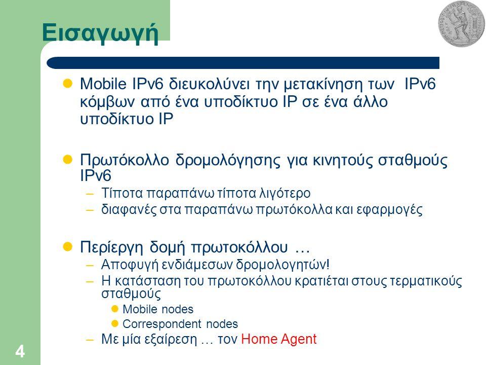4 Εισαγωγή Mobile IPv6 διευκολύνει την μετακίνηση των IPv6 κόμβων από ένα υποδίκτυο IP σε ένα άλλο υποδίκτυο IP Πρωτόκολλο δρομολόγησης για κινητούς σταθμούς IPv6 –Τίποτα παραπάνω τίποτα λιγότερο –διαφανές στα παραπάνω πρωτόκολλα και εφαρμογές Περίεργη δομή πρωτοκόλλου … –Αποφυγή ενδιάμεσων δρομολογητών.