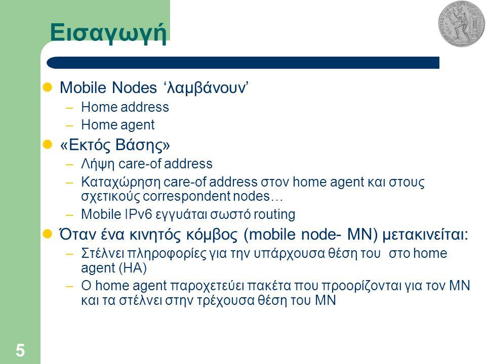 5 Εισαγωγή Mobile Nodes 'λαμβάνουν' –Home address –Home agent «Εκτός Βάσης» –Λήψη care-of address –Καταχώρηση care-of address στον home agent και στους σχετικούς correspondent nodes… –Mobile IPv6 εγγυάται σωστό routing Όταν ένα κινητός κόμβος (mobile node- ΜΝ) μετακινείται: –Στέλνει πληροφορίες για την υπάρχουσα θέση του στο home agent (ΗΑ) –Ο home agent παροχετεύει πακέτα που προορίζονται για τον ΜΝ και τα στέλνει στην τρέχουσα θέση του ΜΝ