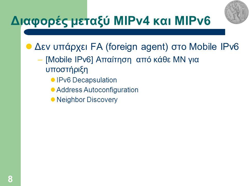 8 Διαφορές μεταξύ MIPv4 και MIPv6 Δεν υπάρχει FA (foreign agent) στο Mobile IPv6 –[Mobile IPv6] Απαίτηση από κάθε ΜΝ για υποστήριξη IPv6 Decapsulation Address Autoconfiguration Neighbor Discovery
