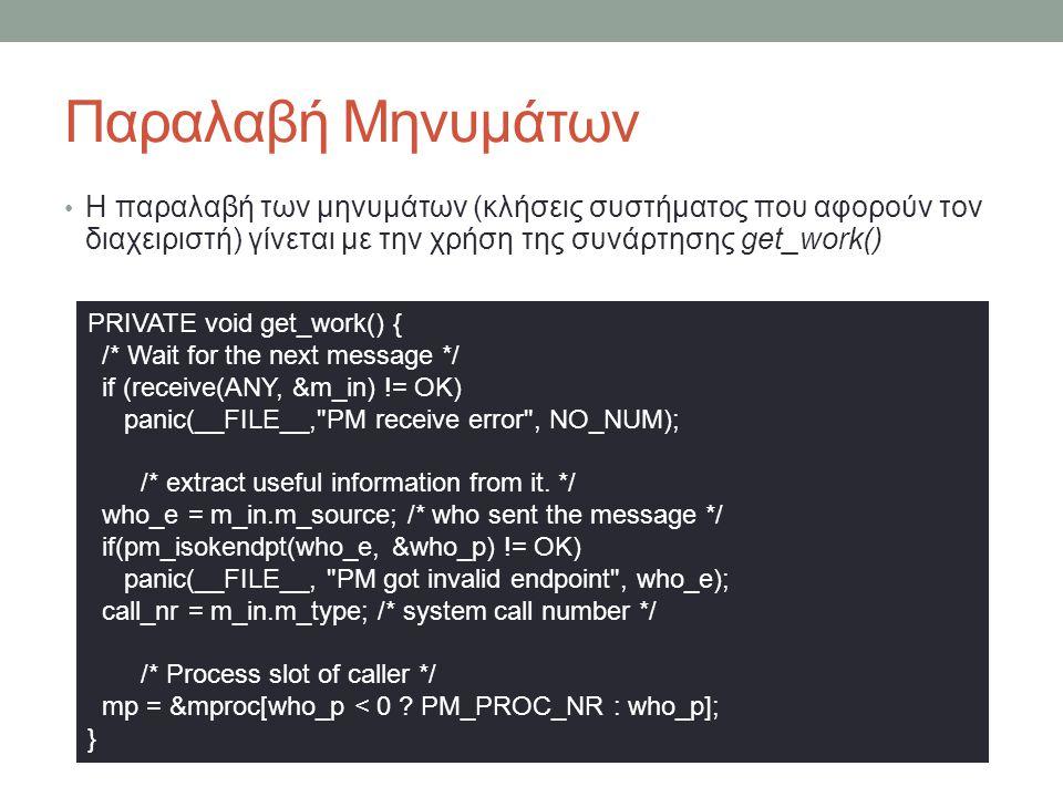 Παραλαβή Μηνυμάτων Η παραλαβή των μηνυμάτων (κλήσεις συστήματος που αφορούν τον διαχειριστή) γίνεται με την χρήση της συνάρτησης get_work() PRIVATE void get_work() { /* Wait for the next message */ if (receive(ANY, &m_in) != OK) panic(__FILE__, PM receive error , NO_NUM); /* extract useful information from it.