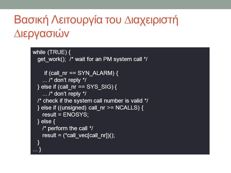 Βασική Λειτουργία του ∆ιαχειριστή ∆ιεργασιών while (TRUE) { get_work(); /* wait for an PM system call */ if (call_nr == SYN_ALARM) {...