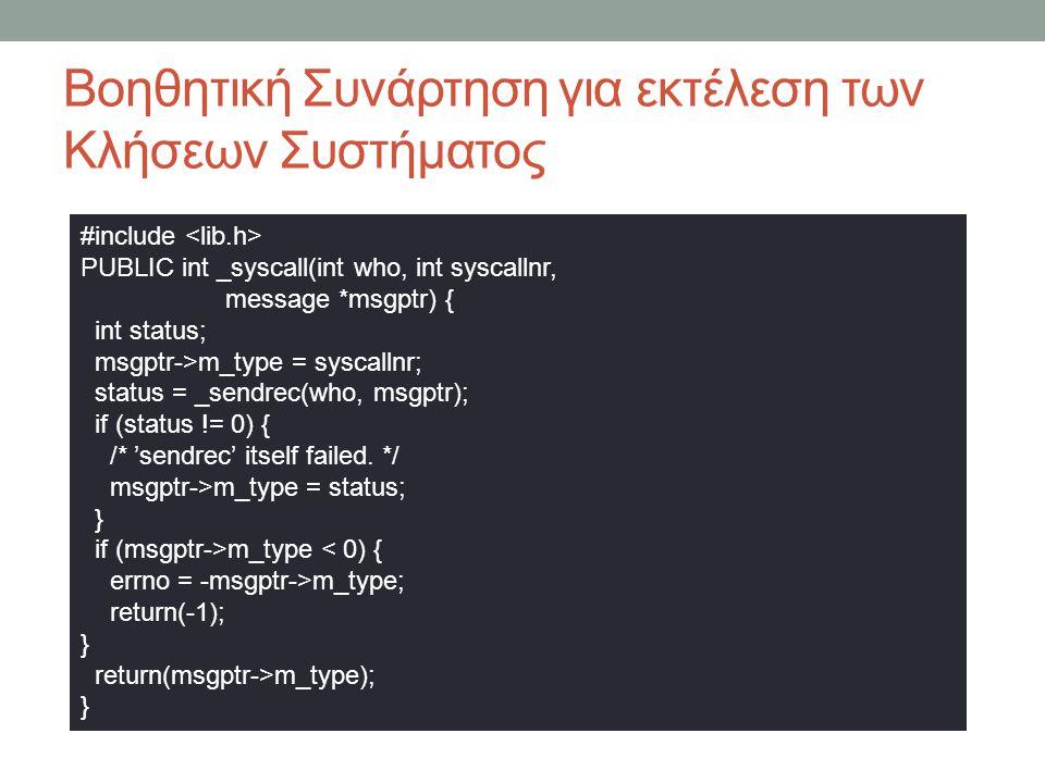 Βοηθητική Συνάρτηση για εκτέλεση των Κλήσεων Συστήματος #include PUBLIC int _syscall(int who, int syscallnr, message *msgptr) { int status; msgptr->m_type = syscallnr; status = _sendrec(who, msgptr); if (status != 0) { /* 'sendrec' itself failed.