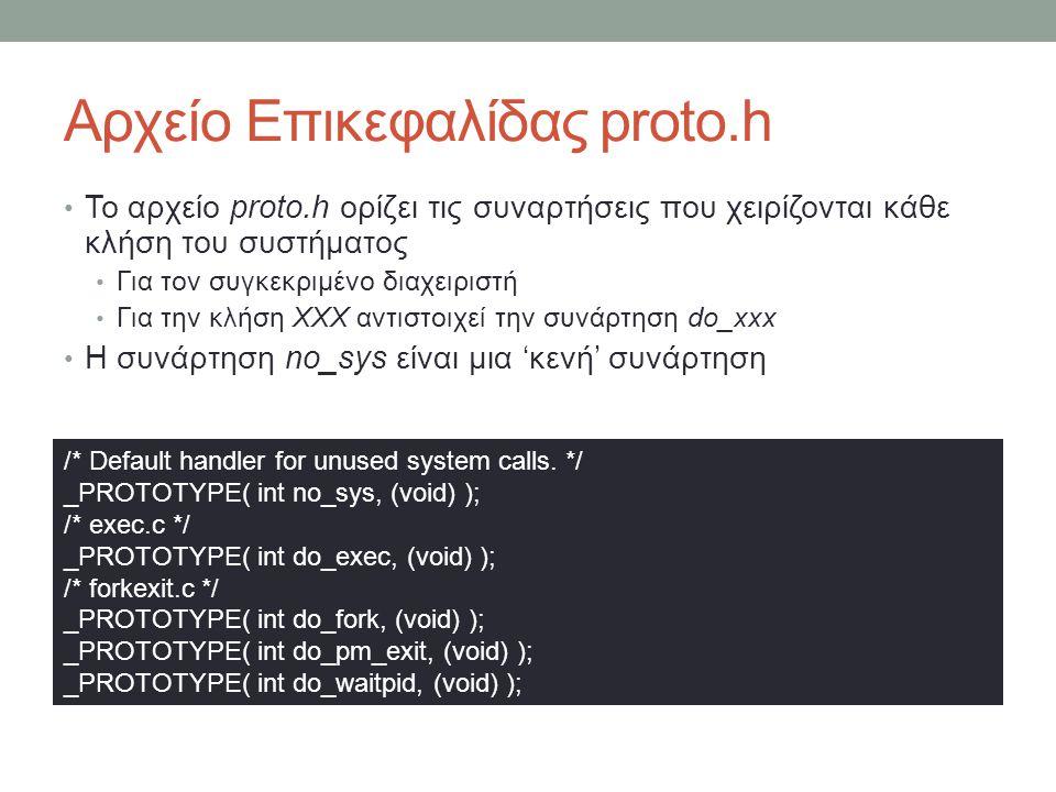 Αρχείο Επικεφαλίδας proto.h Το αρχείο proto.h ορίζει τις συναρτήσεις που χειρίζονται κάθε κλήση του συστήματος Για τον συγκεκριμένο διαχειριστή Για την κλήση XXX αντιστοιχεί την συνάρτηση do_xxx Η συνάρτηση no_sys είναι μια 'κενή' συνάρτηση /* Default handler for unused system calls.