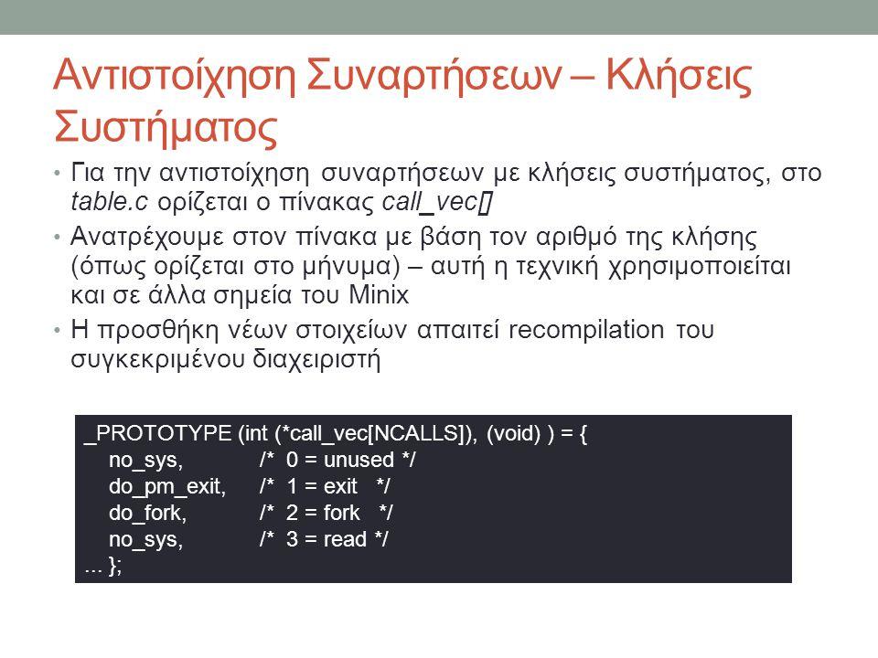 Αντιστοίχηση Συναρτήσεων – Κλήσεις Συστήματος Για την αντιστοίχηση συναρτήσεων με κλήσεις συστήματος, στο table.c ορίζεται ο πίνακας call_vec[] Ανατρέχουμε στον πίνακα με βάση τον αριθμό της κλήσης (όπως ορίζεται στο μήνυμα) – αυτή η τεχνική χρησιμοποιείται και σε άλλα σημεία του Minix Η προσθήκη νέων στοιχείων απαιτεί recompilation του συγκεκριμένου διαχειριστή _PROTOTYPE (int (*call_vec[NCALLS]), (void) ) = { no_sys, /* 0 = unused */ do_pm_exit, /* 1 = exit */ do_fork, /* 2 = fork */ no_sys, /* 3 = read */...