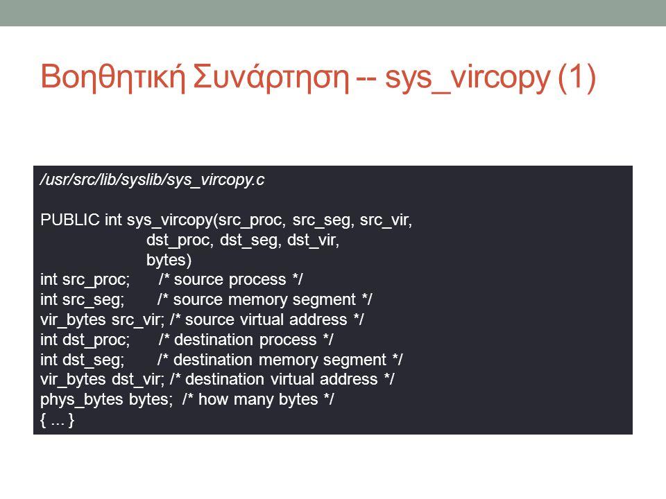 Βοηθητική Συνάρτηση -- sys_vircopy (1) /usr/src/lib/syslib/sys_vircopy.c PUBLIC int sys_vircopy(src_proc, src_seg, src_vir, dst_proc, dst_seg, dst_v