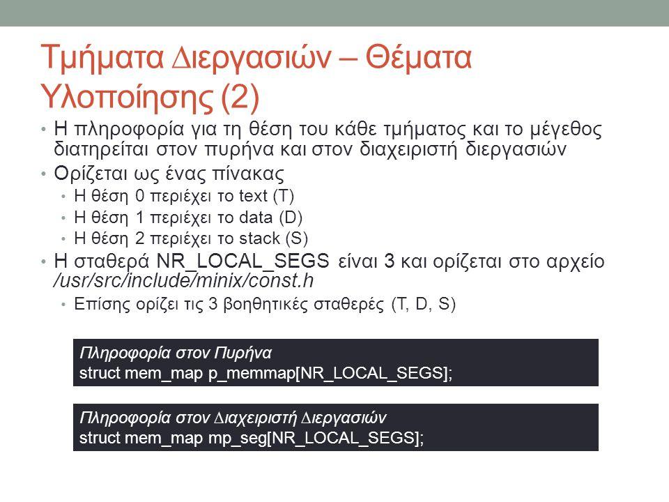 Τμήματα ∆ιεργασιών – Θέματα Υλοποίησης (2) Η πληροφορία για τη θέση του κάθε τμήματος και το μέγεθος διατηρείται στον πυρήνα και στον διαχε