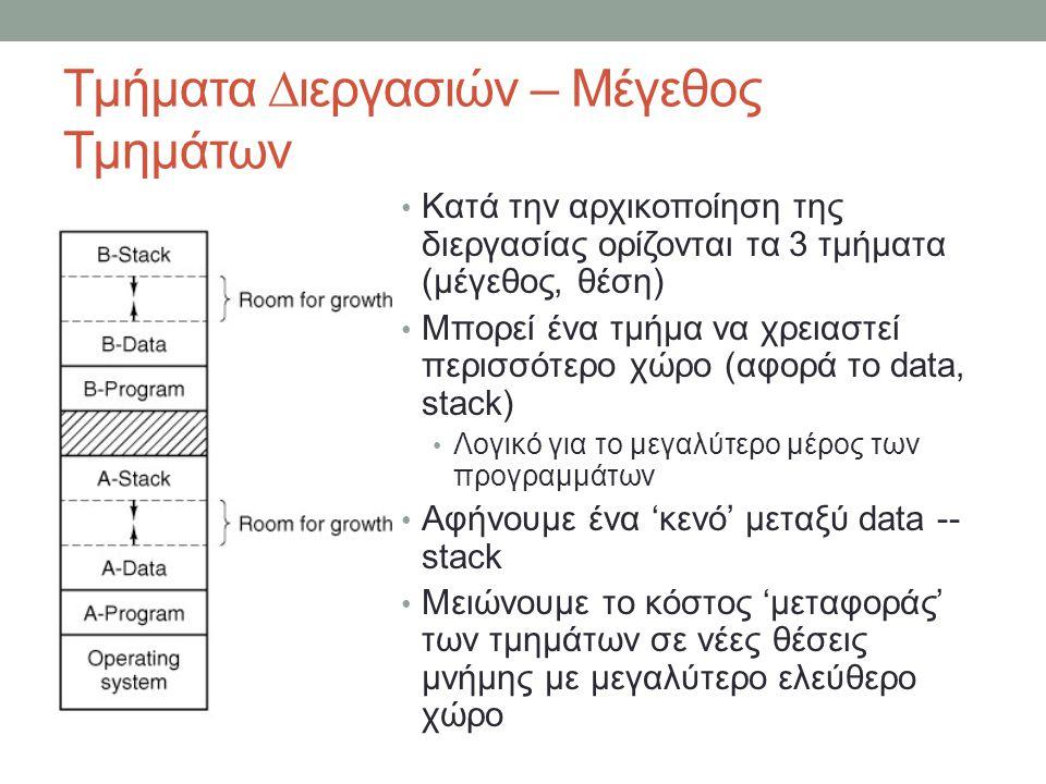 Τμήματα ∆ιεργασιών – Μέγεθος Τμημάτων Κατά την αρχικοποίηση της διεργασίας ορίζονται τα 3 τμήματα (μέγεθος, θέση) Μπορεί ένα τμήμα να χρ