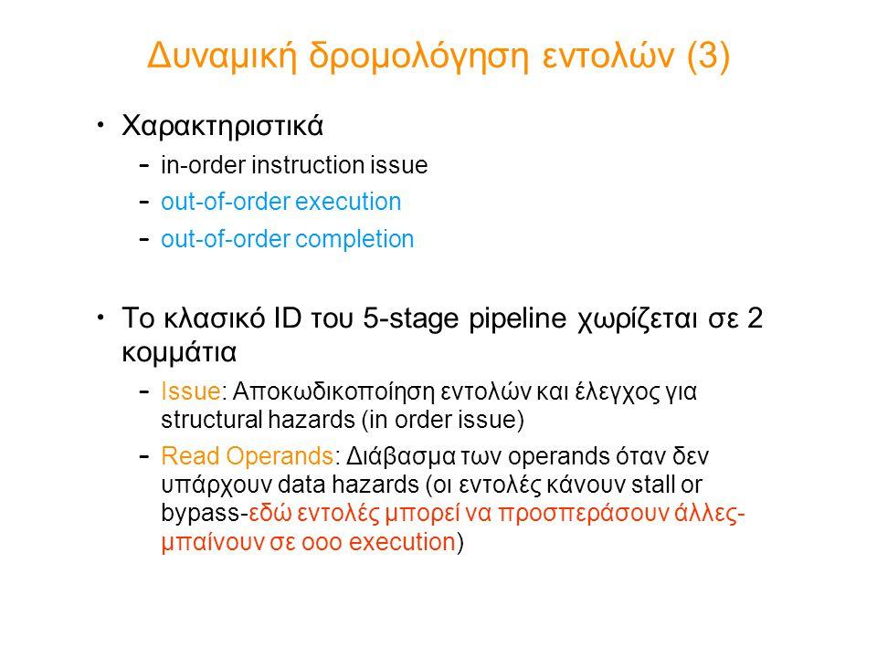 Δυναμική δρομολόγηση εντολών (3) Χαρακτηριστικά – in-order instruction issue – out-of-order execution – out-of-order completion Το κλασικό ID του 5-st