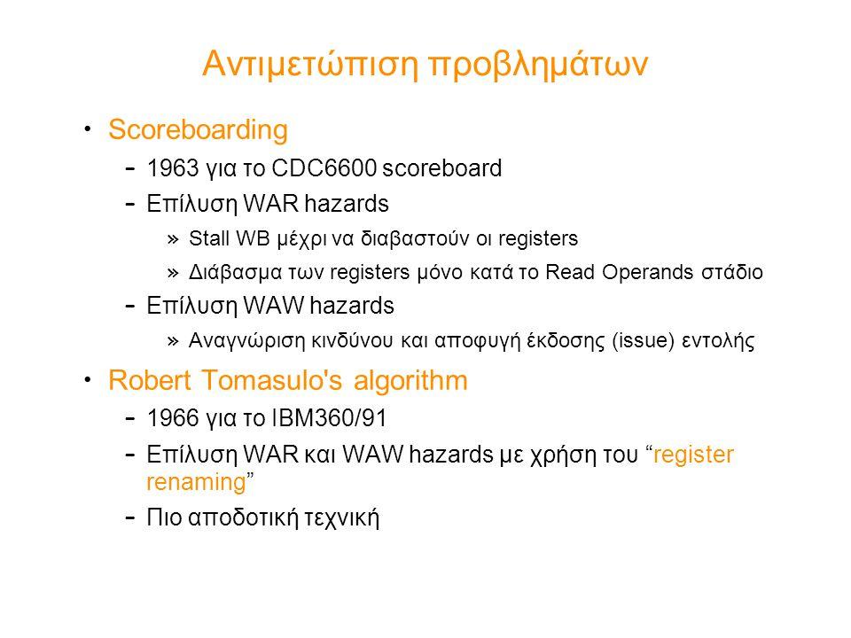 Αντιμετώπιση προβλημάτων Scoreboarding – 1963 για το CDC6600 scoreboard – Επίλυση WAR hazards » Stall WB μέχρι να διαβαστούν οι registers » Διάβασμα τ