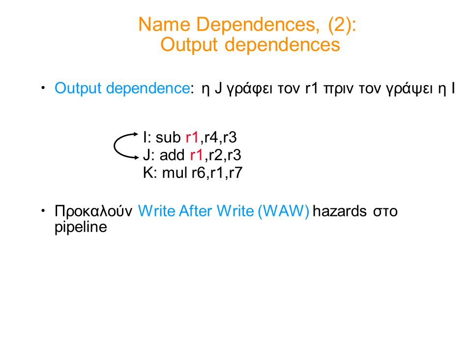 Output dependence: η J γράφει τον r1 πριν τον γράψει η I Προκαλούν Write After Write (WAW) hazards στο pipeline Name Dependences, (2): Output dependences I: sub r1,r4,r3 J: add r1,r2,r3 K: mul r6,r1,r7