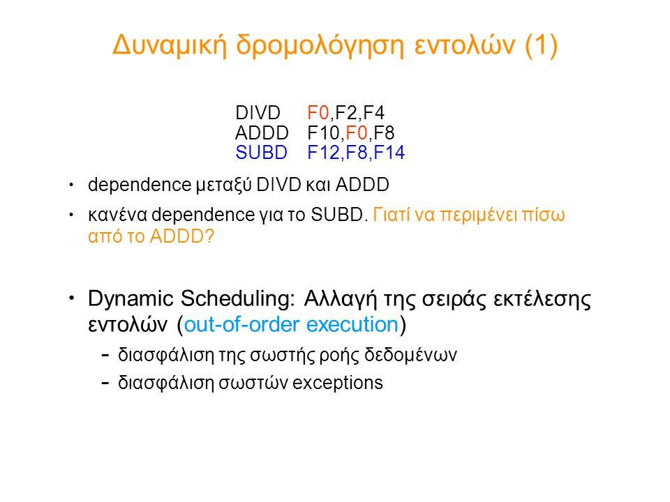 Δυναμική δρομολόγηση εντολών (1) DIVD F0,F2,F4 ADDD F10,F0,F8 SUBD F12,F8,F14 dependence μεταξύ DIVD και ADDD κανένα dependence για το SUBD. Γιατί να