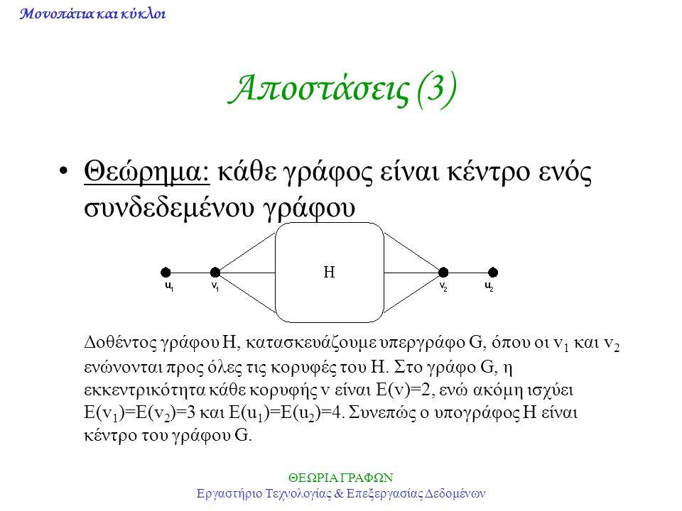 Μονοπάτια και κύκλοι ΘΕΩΡΙΑ ΓΡΑΦΩΝ Εργαστήριο Τεχνολογίας & Επεξεργασίας Δεδομένων Αποστάσεις (3) Θεώρημα: κάθε γράφος είναι κέντρο ενός συνδεδεμένου