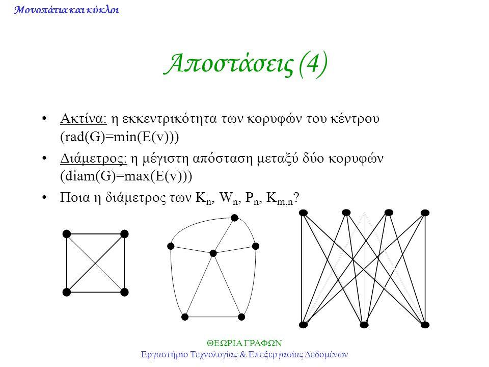 Μονοπάτια και κύκλοι ΘΕΩΡΙΑ ΓΡΑΦΩΝ Εργαστήριο Τεχνολογίας & Επεξεργασίας Δεδομένων Αποστάσεις (4) Ακτίνα: η εκκεντρικότητα των κορυφών του κέντρου (ra