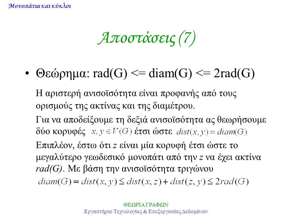 Μονοπάτια και κύκλοι ΘΕΩΡΙΑ ΓΡΑΦΩΝ Εργαστήριο Τεχνολογίας & Επεξεργασίας Δεδομένων Αποστάσεις (7) Θεώρημα: rad(G) <= diam(G) <= 2rad(G) Η αριστερή ανι